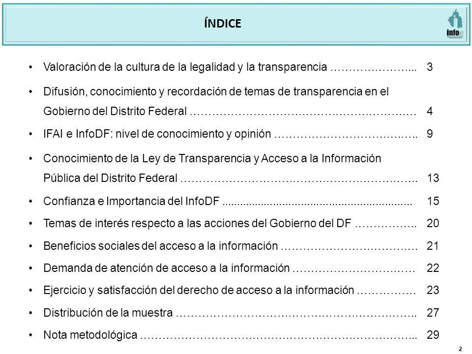 2 ÍNDICE Valoración de la cultura de la legalidad y la transparencia …………………...3 Difusión, conocimiento y recordación de temas de transparencia en el Gobierno del Distrito Federal …………………………………………………….4 IFAI e InfoDF: nivel de conocimiento y opinión …………………………….…..9 Conocimiento de la Ley de Transparencia y Acceso a la Información Pública del Distrito Federal ……………………………………………………….13 Confianza e Importancia del InfoDF..............................................................15 Temas de interés respecto a las acciones del Gobierno del DF ……………..20 Beneficios sociales del acceso a la información ……………………………….21 Demanda de atención de acceso a la información ……………………………22 Ejercicio y satisfacción del derecho de acceso a la información …………….23 Distribución de la muestra ………………………………………………………..27 Nota metodológica ………………………………………………………………...29