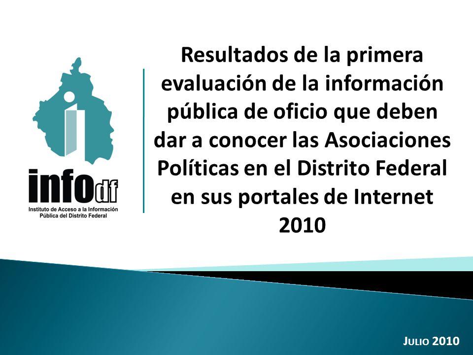 Resultados de la primera evaluación de la información pública de oficio que deben dar a conocer las Asociaciones Políticas en el Distrito Federal en sus portales de Internet 2010 J ULIO 2010