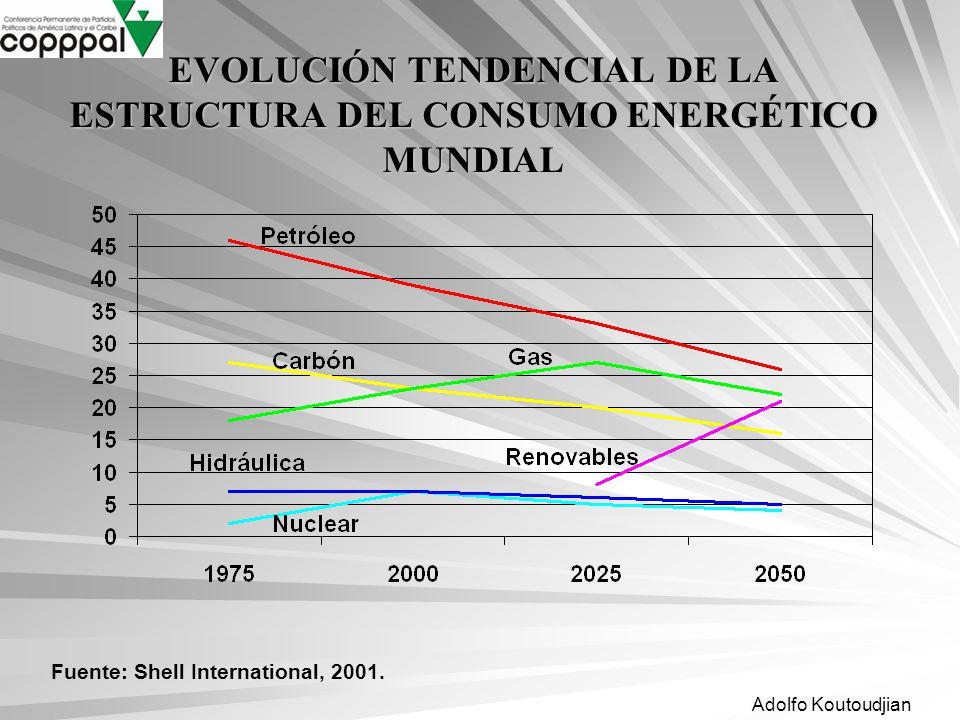 Adolfo Koutoudjian EVOLUCIÓN TENDENCIAL DE LA ESTRUCTURA DEL CONSUMO ENERGÉTICO MUNDIAL Fuente: Shell International, 2001.