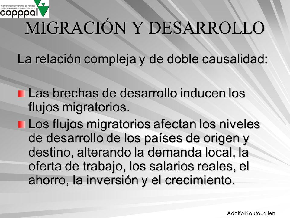 Adolfo Koutoudjian MIGRACIÓN Y DESARROLLO La relación compleja y de doble causalidad: Las brechas de desarrollo inducen los flujos migratorios. Los fl