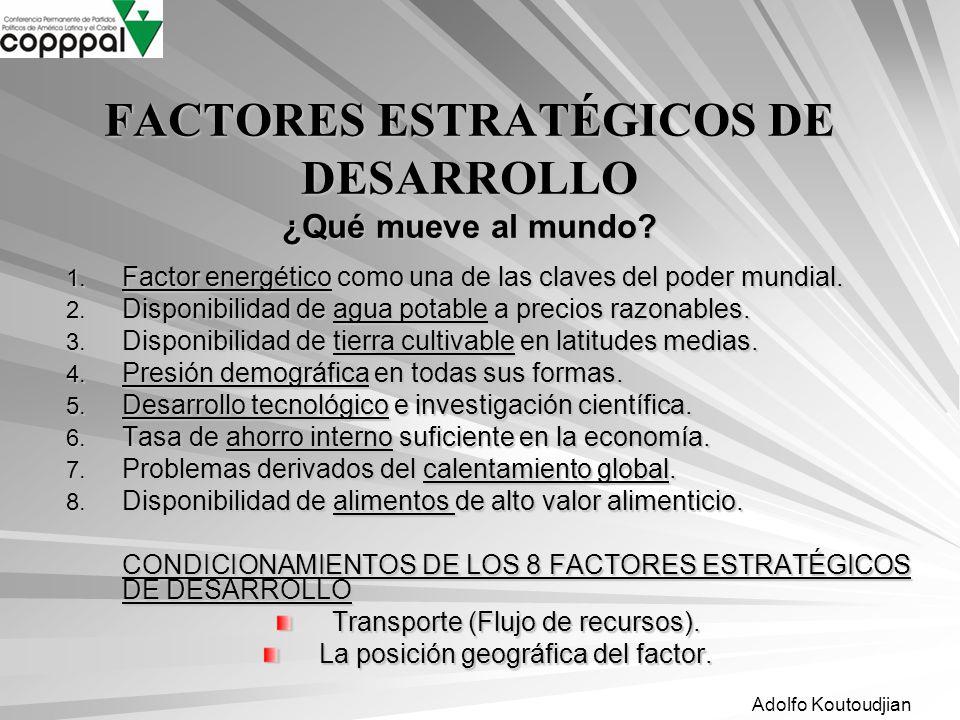 Adolfo Koutoudjian FACTORES ESTRATÉGICOS DE DESARROLLO ¿Qué mueve al mundo? 1. Factor energético como una de las claves del poder mundial. 2. Disponib