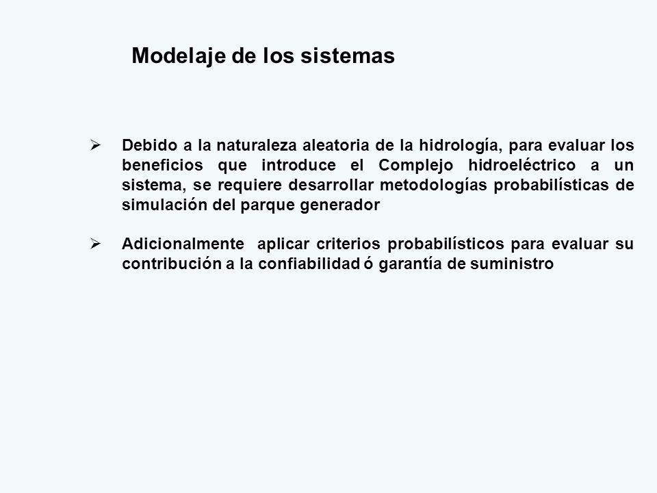 Modelaje de los sistemas Debido a la naturaleza aleatoria de la hidrología, para evaluar los beneficios que introduce el Complejo hidroeléctrico a un sistema, se requiere desarrollar metodologías probabilísticas de simulación del parque generador Adicionalmente aplicar criterios probabilísticos para evaluar su contribución a la confiabilidad ó garantía de suministro