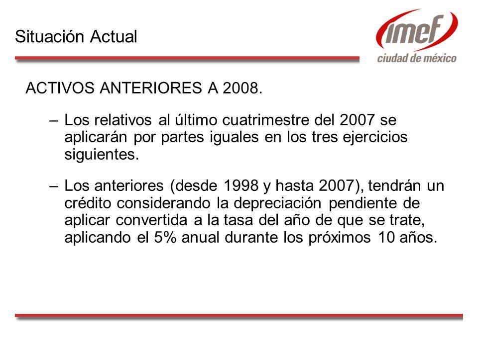 ACTIVOS ANTERIORES A 2008. –Los relativos al último cuatrimestre del 2007 se aplicarán por partes iguales en los tres ejercicios siguientes. –Los ante