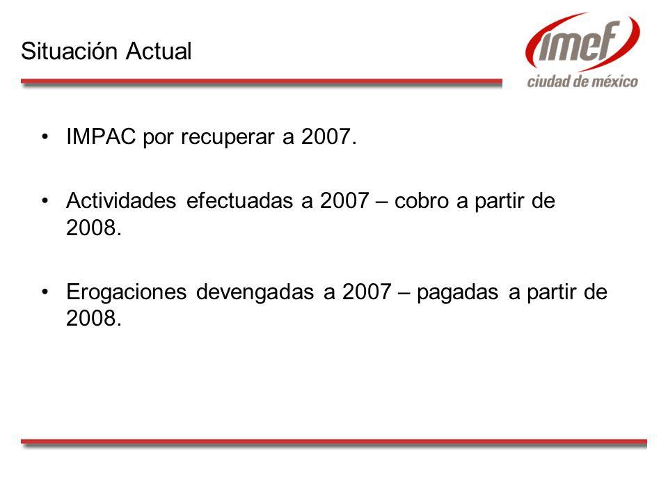 IMPAC por recuperar a 2007. Actividades efectuadas a 2007 – cobro a partir de 2008. Erogaciones devengadas a 2007 – pagadas a partir de 2008. Situació