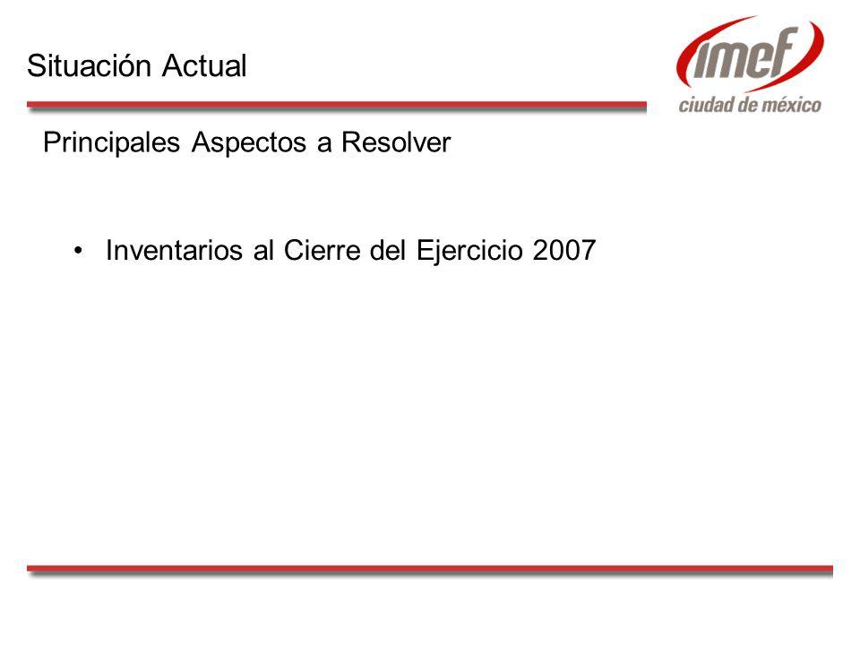 Inventarios al Cierre del Ejercicio 2007 Principales Aspectos a Resolver Situación Actual