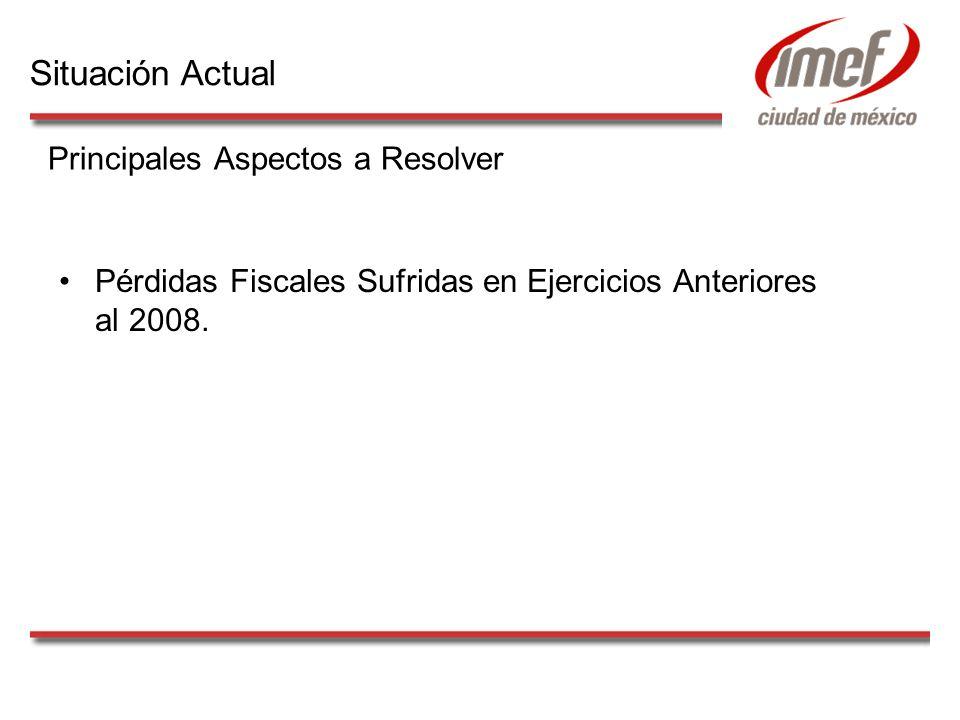 Pérdidas Fiscales Sufridas en Ejercicios Anteriores al 2008. Principales Aspectos a Resolver Situación Actual