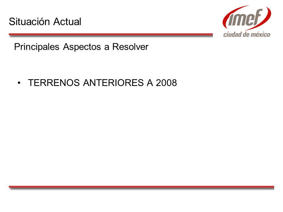 TERRENOS ANTERIORES A 2008 Principales Aspectos a Resolver Situación Actual