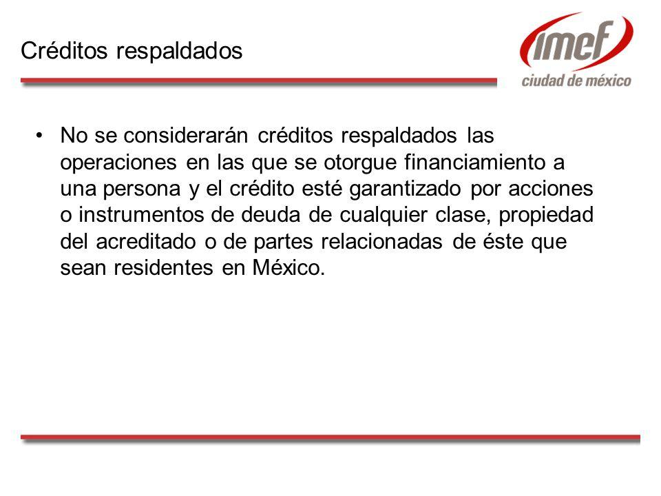 No se considerarán créditos respaldados las operaciones en las que se otorgue financiamiento a una persona y el crédito esté garantizado por acciones o instrumentos de deuda de cualquier clase, propiedad del acreditado o de partes relacionadas de éste que sean residentes en México.