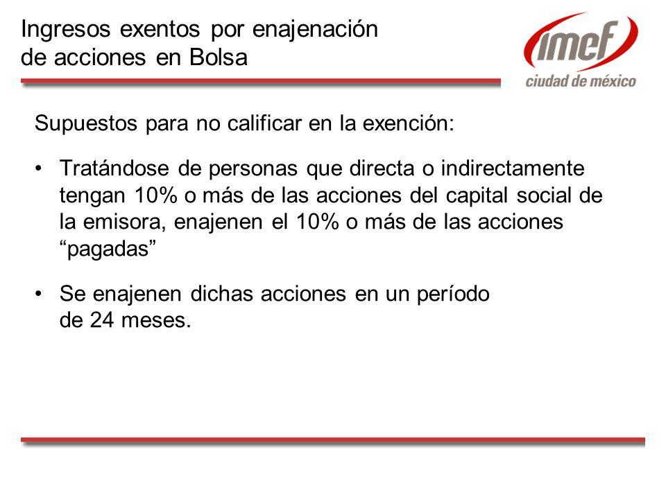 Supuestos para no calificar en la exención: Tratándose de personas que directa o indirectamente tengan 10% o más de las acciones del capital social de