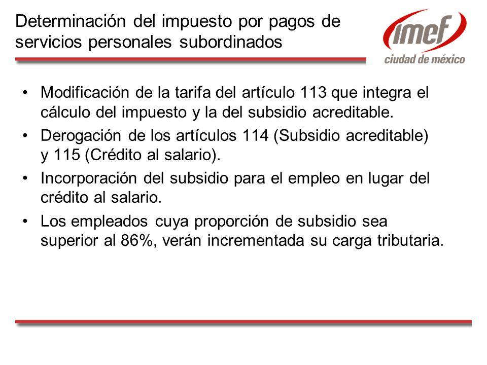 Modificación de la tarifa del artículo 113 que integra el cálculo del impuesto y la del subsidio acreditable. Derogación de los artículos 114 (Subsidi