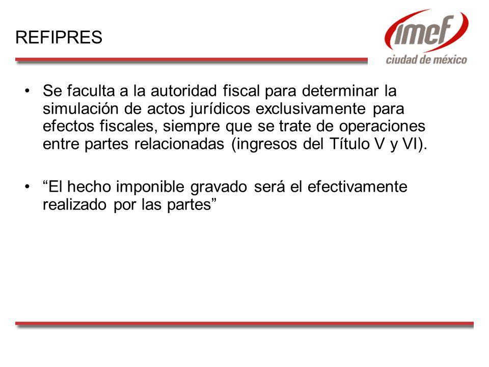 Se faculta a la autoridad fiscal para determinar la simulación de actos jurídicos exclusivamente para efectos fiscales, siempre que se trate de operaciones entre partes relacionadas (ingresos del Título V y VI).
