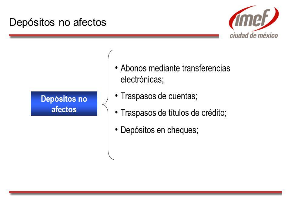 Depósitos no afectos Abonos mediante transferencias electrónicas; Traspasos de cuentas; Traspasos de títulos de crédito; Depósitos en cheques ; Depósitos no afectos