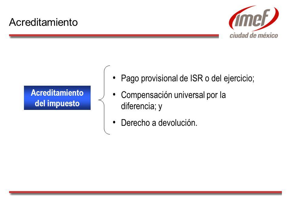 Acreditamiento del impuesto Pago provisional de ISR o del ejercicio; Compensación universal por la diferencia; y Derecho a devolución. Acreditamiento