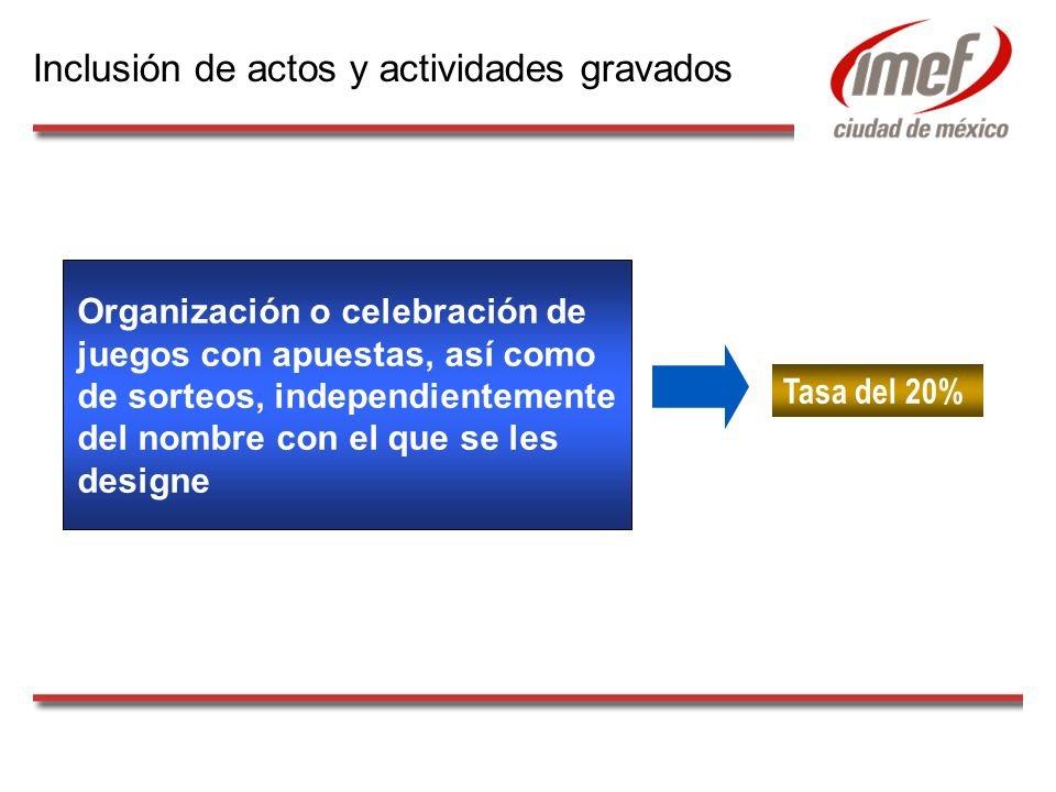 Organización o celebración de juegos con apuestas, así como de sorteos, independientemente del nombre con el que se les designe Tasa del 20% Inclusión de actos y actividades gravados