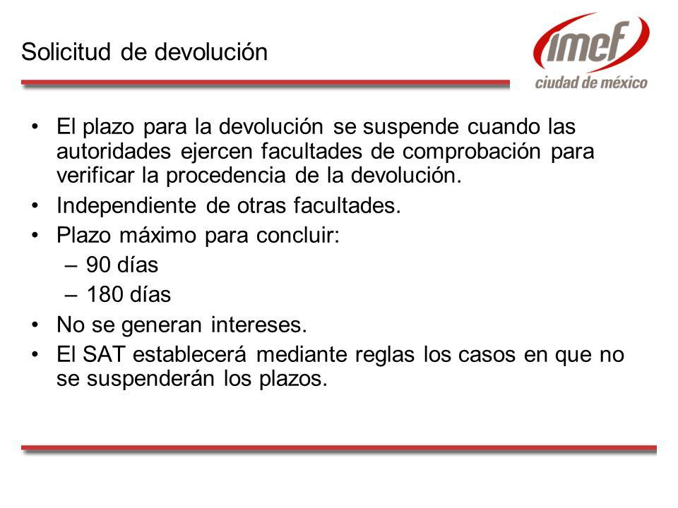 El plazo para la devolución se suspende cuando las autoridades ejercen facultades de comprobación para verificar la procedencia de la devolución.