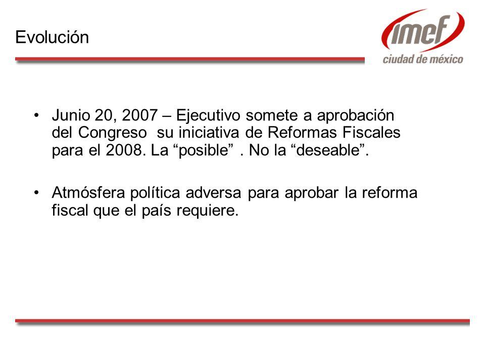 Junio 20, 2007 – Ejecutivo somete a aprobación del Congreso su iniciativa de Reformas Fiscales para el 2008. La posible. No la deseable. Atmósfera pol