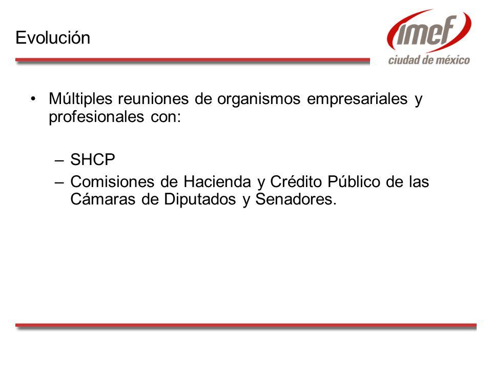 Múltiples reuniones de organismos empresariales y profesionales con: –SHCP –Comisiones de Hacienda y Crédito Público de las Cámaras de Diputados y Sen