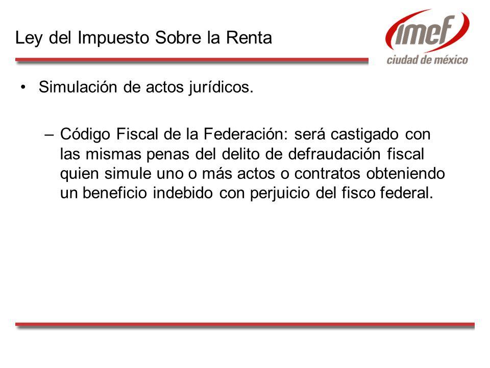 Simulación de actos jurídicos. –Código Fiscal de la Federación: será castigado con las mismas penas del delito de defraudación fiscal quien simule uno