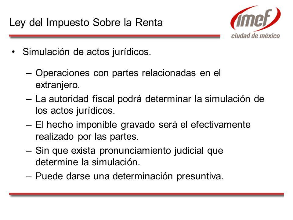 Simulación de actos jurídicos. –Operaciones con partes relacionadas en el extranjero. –La autoridad fiscal podrá determinar la simulación de los actos