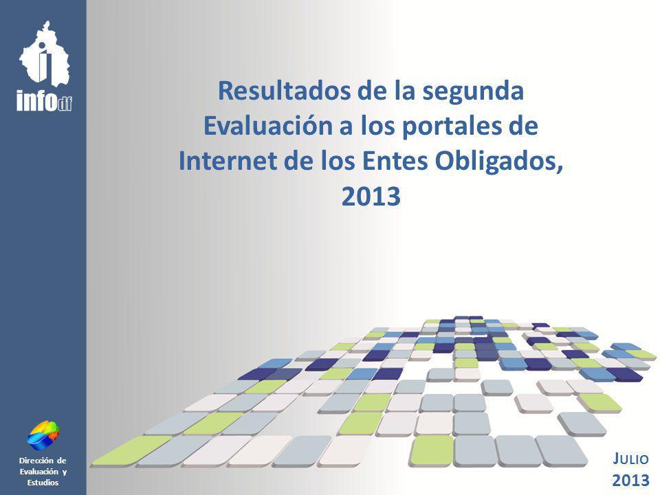 Dirección de Evaluación y Estudios Resultados de la segunda Evaluación a los portales de Internet de los Entes Obligados, 2013 J ULIO 2013
