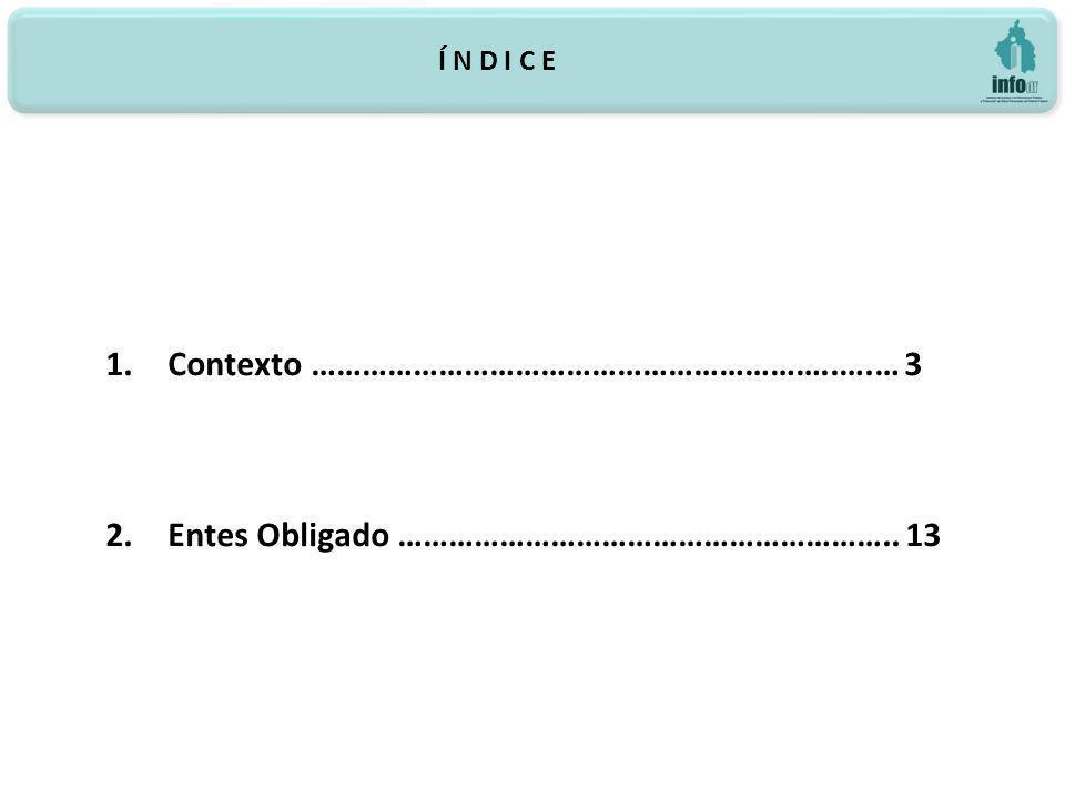 Í N D I C E 1.Contexto ……………………………………………………..….… 3 2.Entes Obligado ………………………………………………….. 13