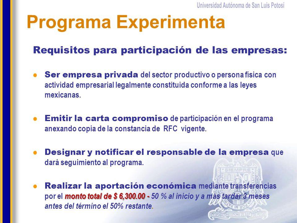 Requisitos para participación de las empresas: Ser empresa privada del sector productivo o persona física con actividad empresarial legalmente constit
