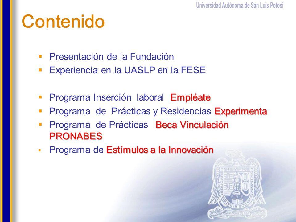 Contenido Presentación de la Fundación Experiencia en la UASLP en la FESE Empléate Programa Inserción laboral Empléate Experimenta Programa de Práctic