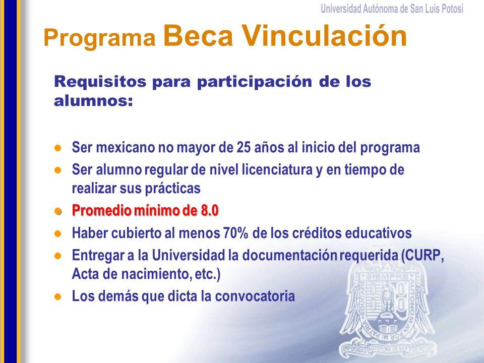 Requisitos para participación de los alumnos: Ser mexicano no mayor de 25 años al inicio del programa Ser alumno regular de nivel licenciatura y en ti