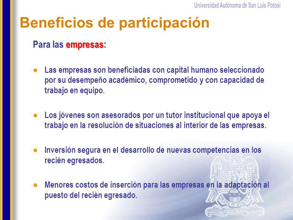 Beneficios de participación empresas Para las empresas: Las empresas son beneficiadas con capital humano seleccionado por su desempeño académico, comp