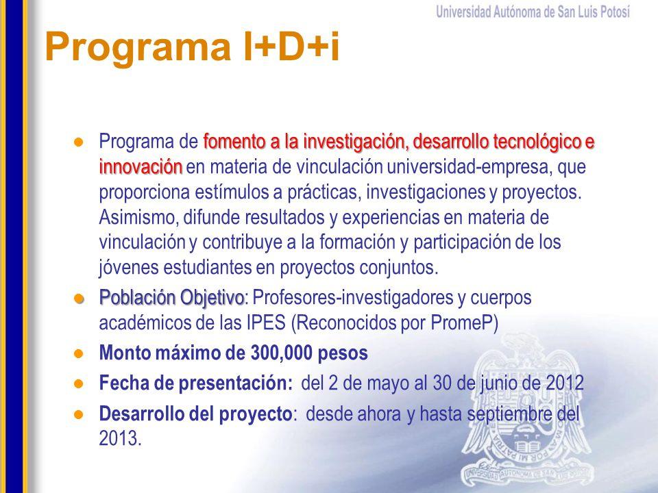 Programa I+D+i fomento a la investigación, desarrollo tecnológico e innovación Programa de fomento a la investigación, desarrollo tecnológico e innova