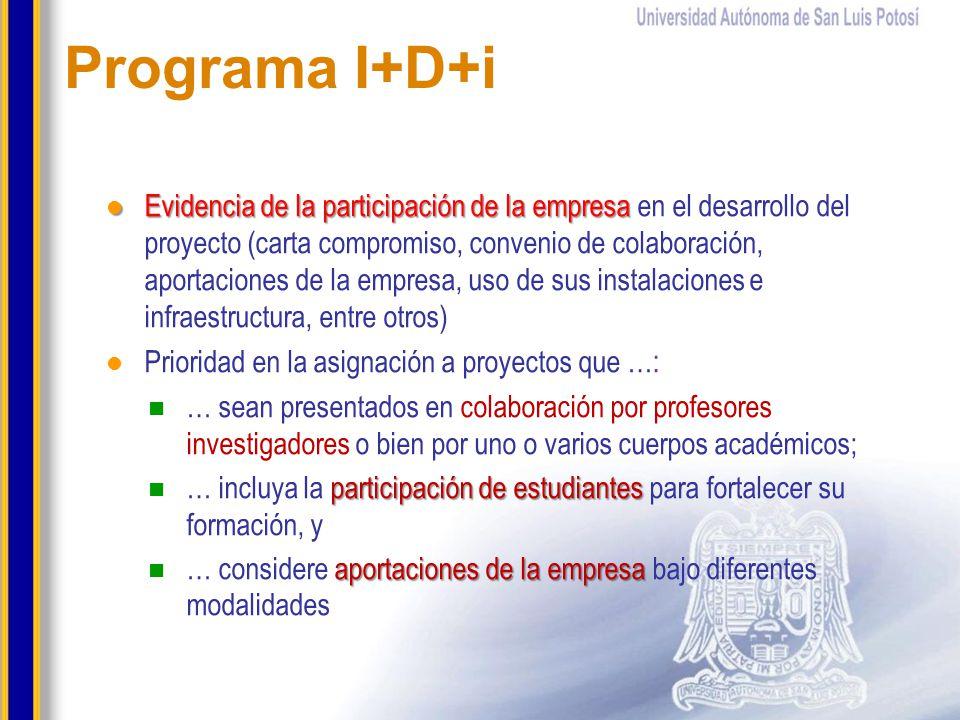Programa I+D+i Evidencia de la participación de la empresa Evidencia de la participación de la empresa en el desarrollo del proyecto (carta compromiso