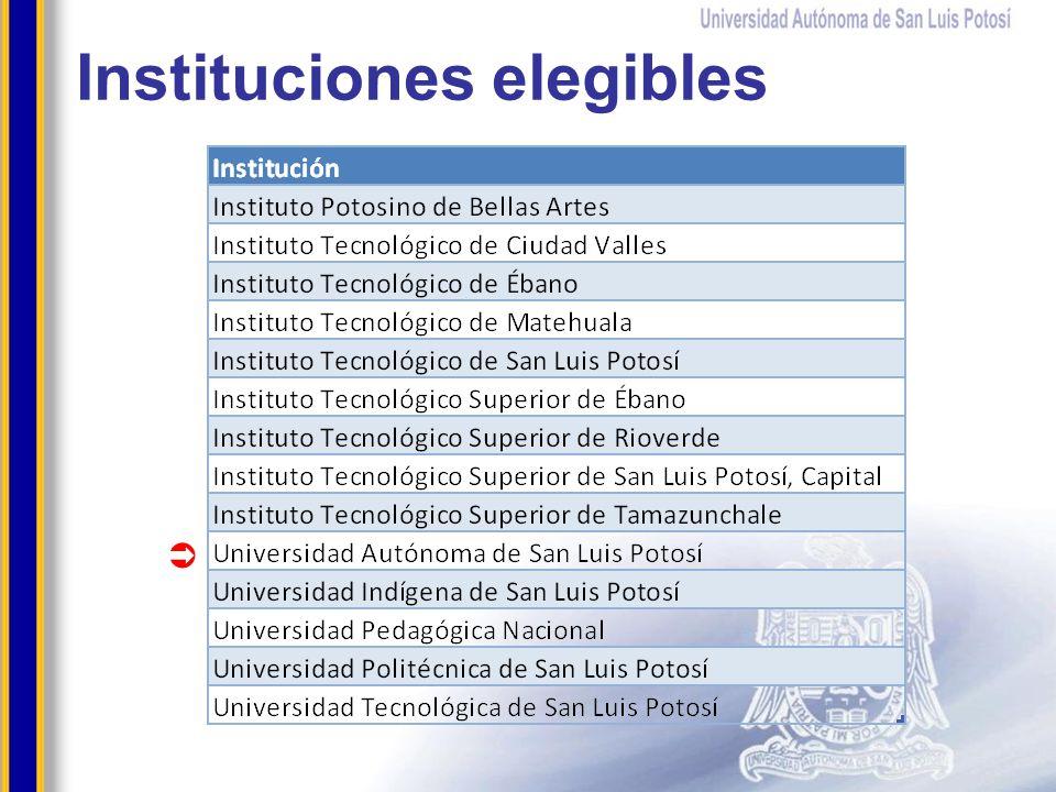 Instituciones elegibles