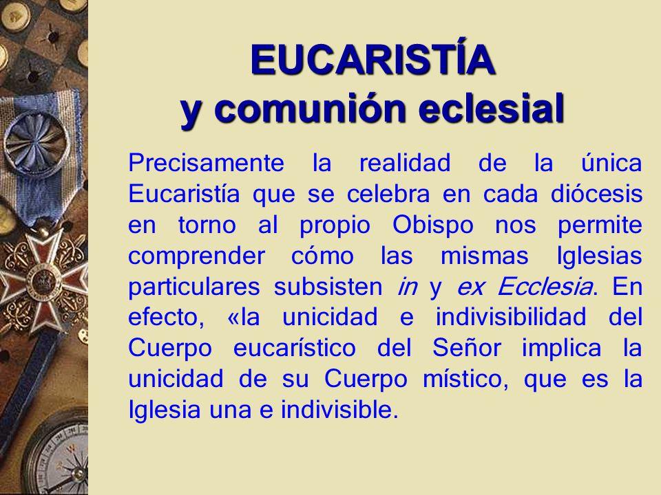 Precisamente la realidad de la única Eucaristía que se celebra en cada diócesis en torno al propio Obispo nos permite comprender cómo las mismas Iglesias particulares subsisten in y ex Ecclesia.
