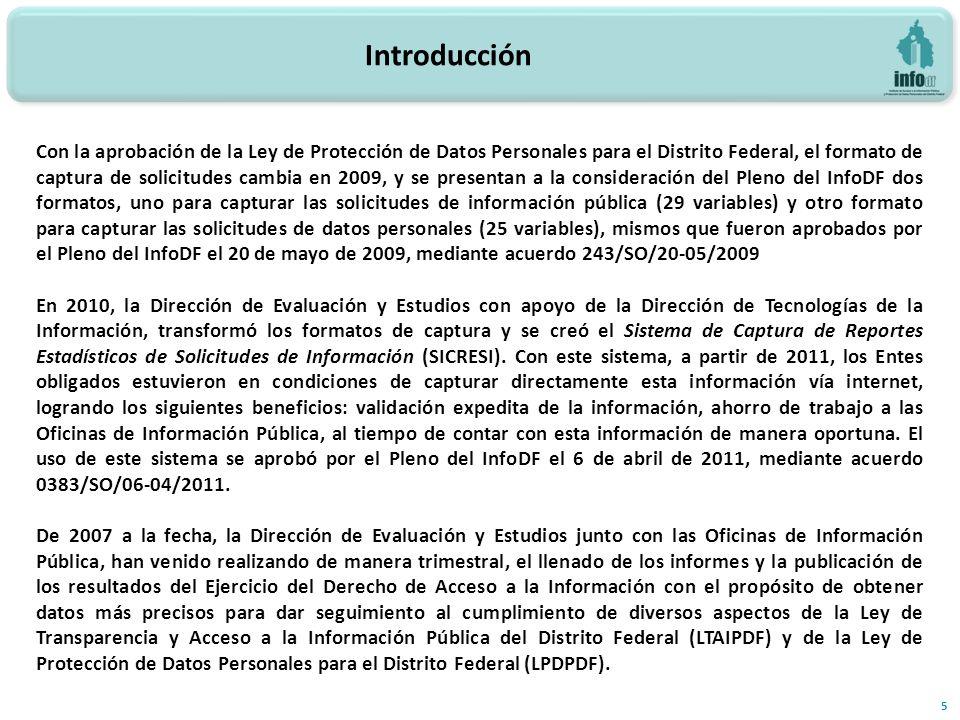 5 Con la aprobación de la Ley de Protección de Datos Personales para el Distrito Federal, el formato de captura de solicitudes cambia en 2009, y se presentan a la consideración del Pleno del InfoDF dos formatos, uno para capturar las solicitudes de información pública (29 variables) y otro formato para capturar las solicitudes de datos personales (25 variables), mismos que fueron aprobados por el Pleno del InfoDF el 20 de mayo de 2009, mediante acuerdo 243/SO/20-05/2009 En 2010, la Dirección de Evaluación y Estudios con apoyo de la Dirección de Tecnologías de la Información, transformó los formatos de captura y se creó el Sistema de Captura de Reportes Estadísticos de Solicitudes de Información (SICRESI).