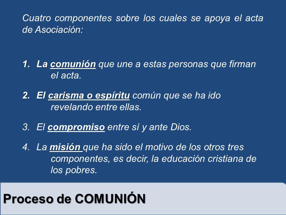 Proceso de COMUNIÓN Cuatro componentes sobre los cuales se apoya el acta de Asociación: 1.La comunión 1.La comunión que une a estas personas que firman el acta.
