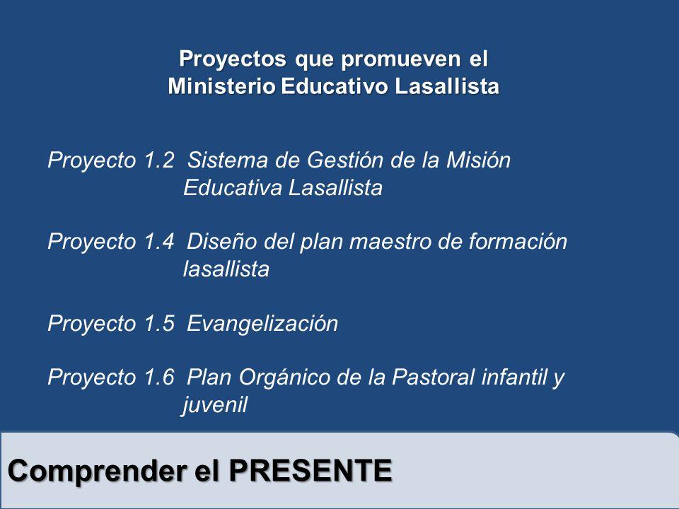 Comprender el PRESENTE Proyecto 1.2 Sistema de Gestión de la Misión Educativa Lasallista Proyecto 1.4 Diseño del plan maestro de formación lasallista Proyecto 1.5 Evangelización Proyecto 1.6 Plan Orgánico de la Pastoral infantil y juvenil Proyectos que promueven el Ministerio Educativo Lasallista