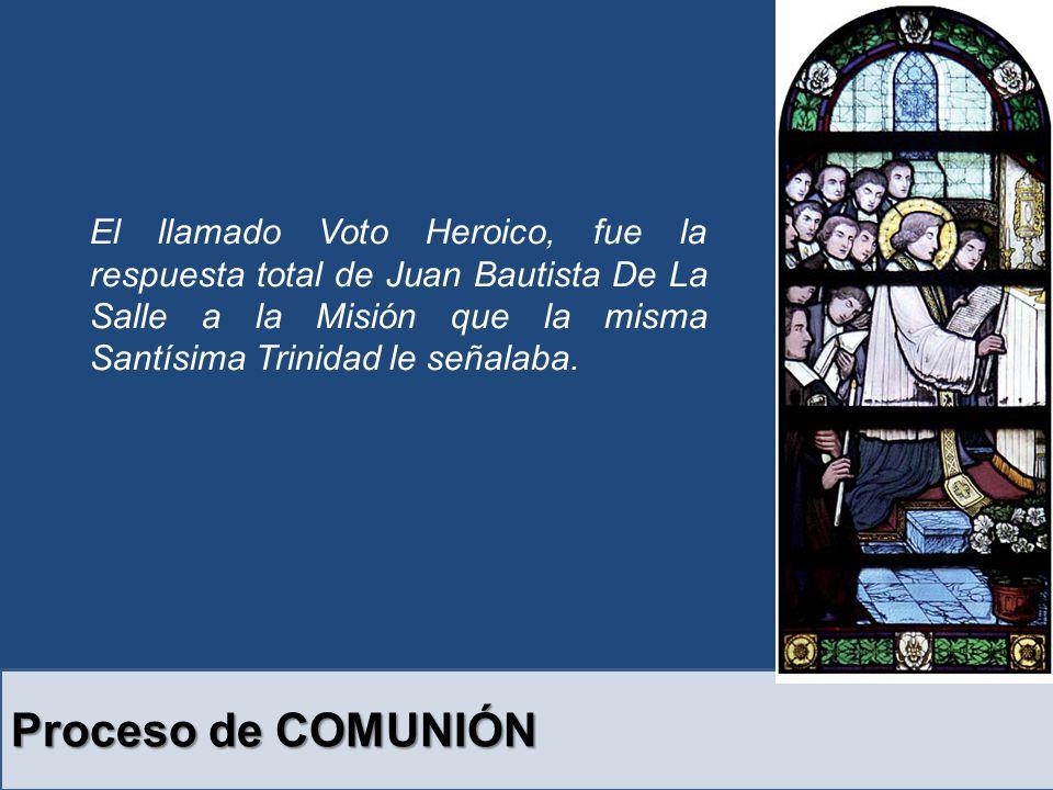 Proceso de COMUNIÓN El llamado Voto Heroico, fue la respuesta total de Juan Bautista De La Salle a la Misión que la misma Santísima Trinidad le señalaba.