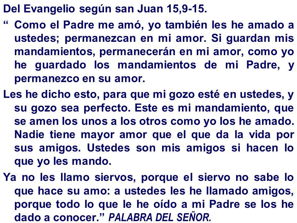 Del Evangelio según san Juan 15,9-15. Como el Padre me amó, yo también les he amado a ustedes; permanezcan en mi amor. Si guardan mis mandamientos, pe