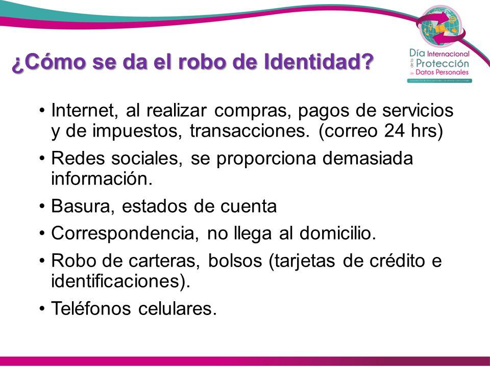 ¿Cómo se da el robo de Identidad? Internet, al realizar compras, pagos de servicios y de impuestos, transacciones. (correo 24 hrs) Redes sociales, se