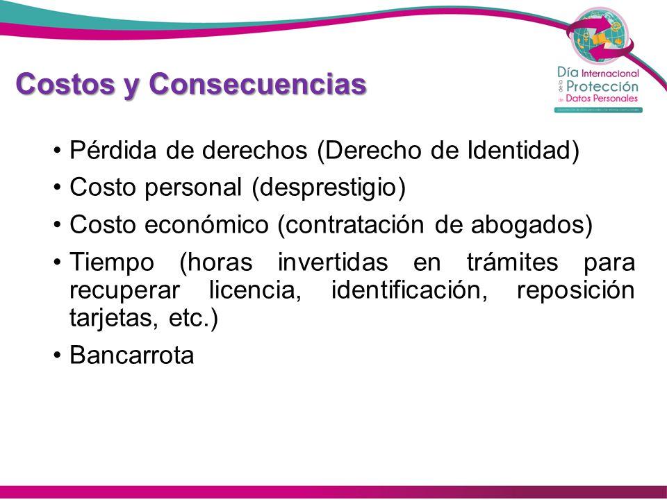 Costos y Consecuencias Pérdida de derechos (Derecho de Identidad) Costo personal (desprestigio) Costo económico (contratación de abogados) Tiempo (hor