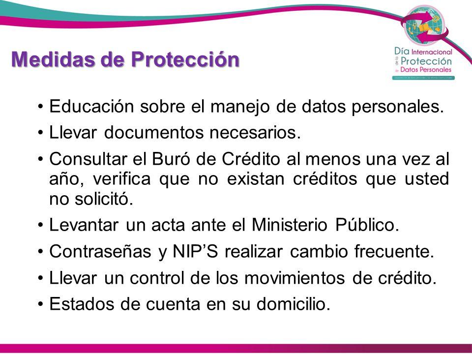 Medidas de Protección Educación sobre el manejo de datos personales. Llevar documentos necesarios. Consultar el Buró de Crédito al menos una vez al añ