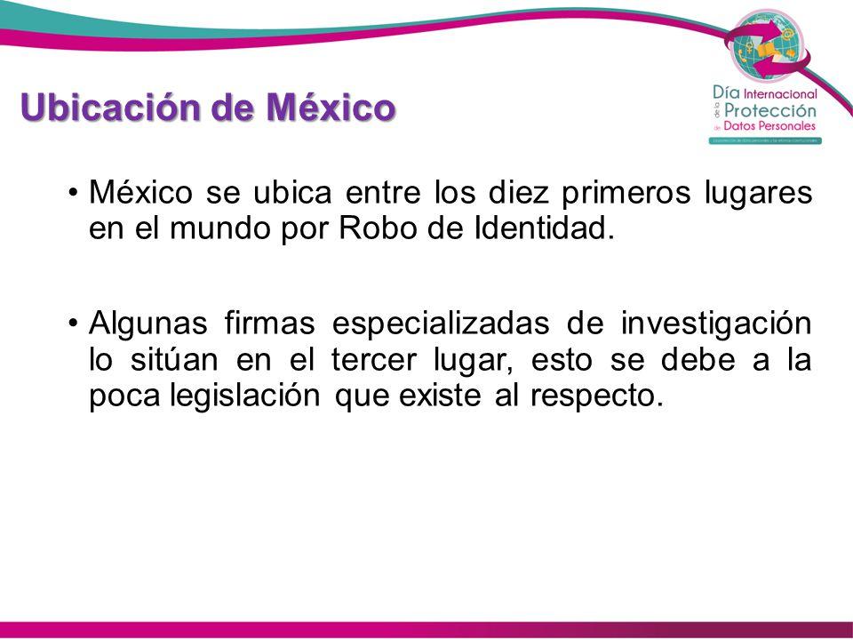 Ubicación de México México se ubica entre los diez primeros lugares en el mundo por Robo de Identidad. Algunas firmas especializadas de investigación