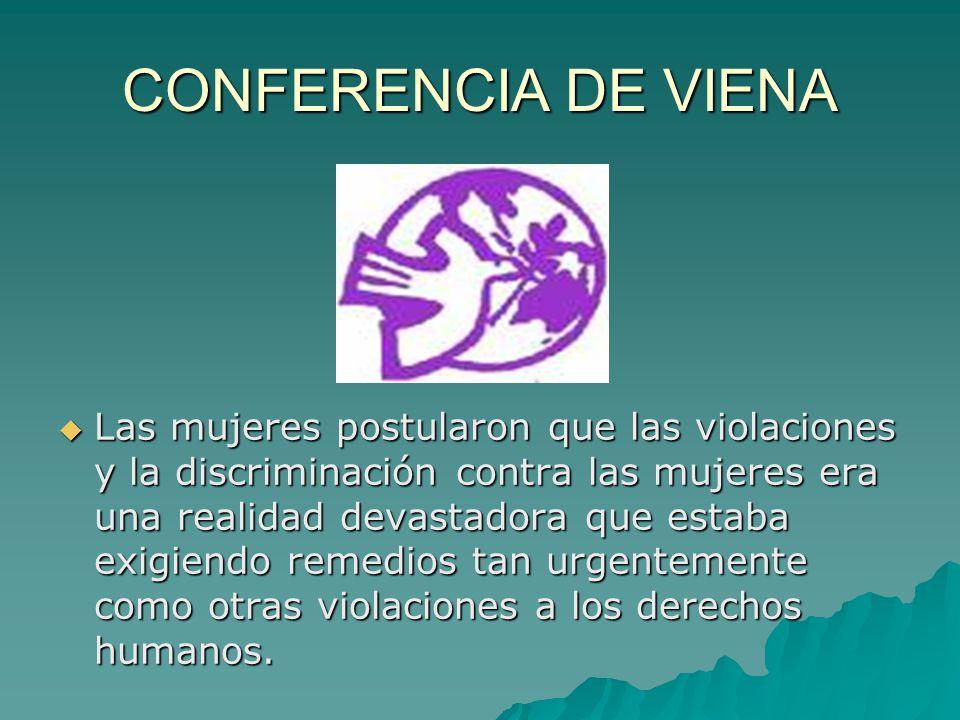 CONFERENCIA DE VIENA Las mujeres postularon que las violaciones y la discriminación contra las mujeres era una realidad devastadora que estaba exigiendo remedios tan urgentemente como otras violaciones a los derechos humanos.