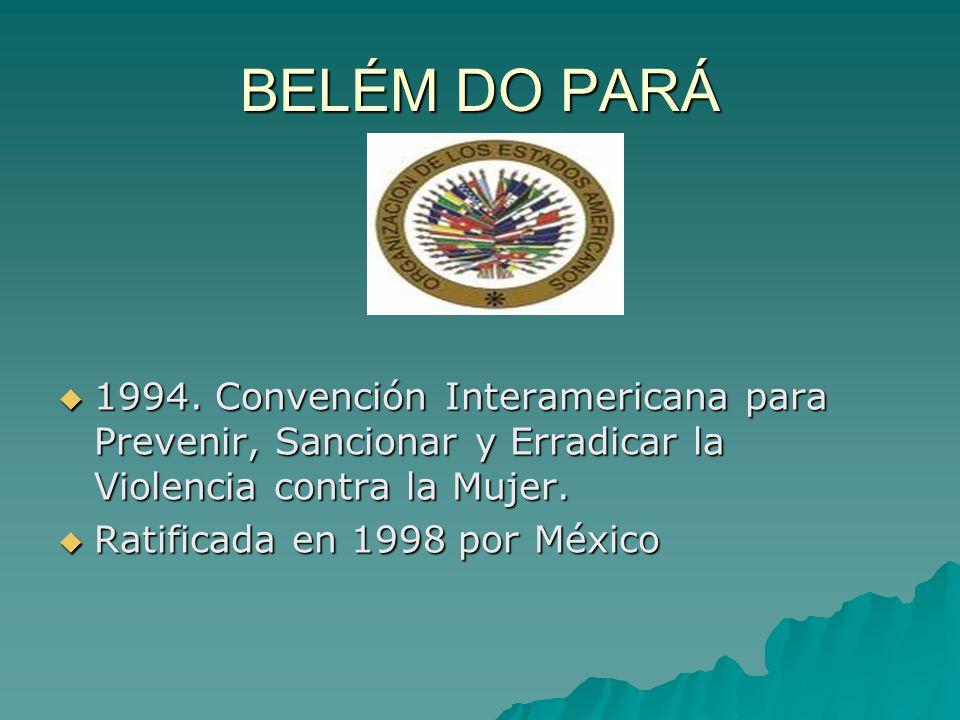BELÉM DO PARÁ 1994. Convención Interamericana para Prevenir, Sancionar y Erradicar la Violencia contra la Mujer. 1994. Convención Interamericana para