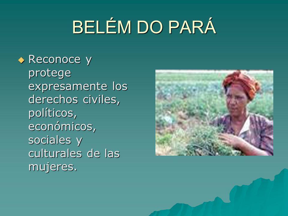 BELÉM DO PARÁ Reconoce y protege expresamente los derechos civiles, políticos, económicos, sociales y culturales de las mujeres. Reconoce y protege ex