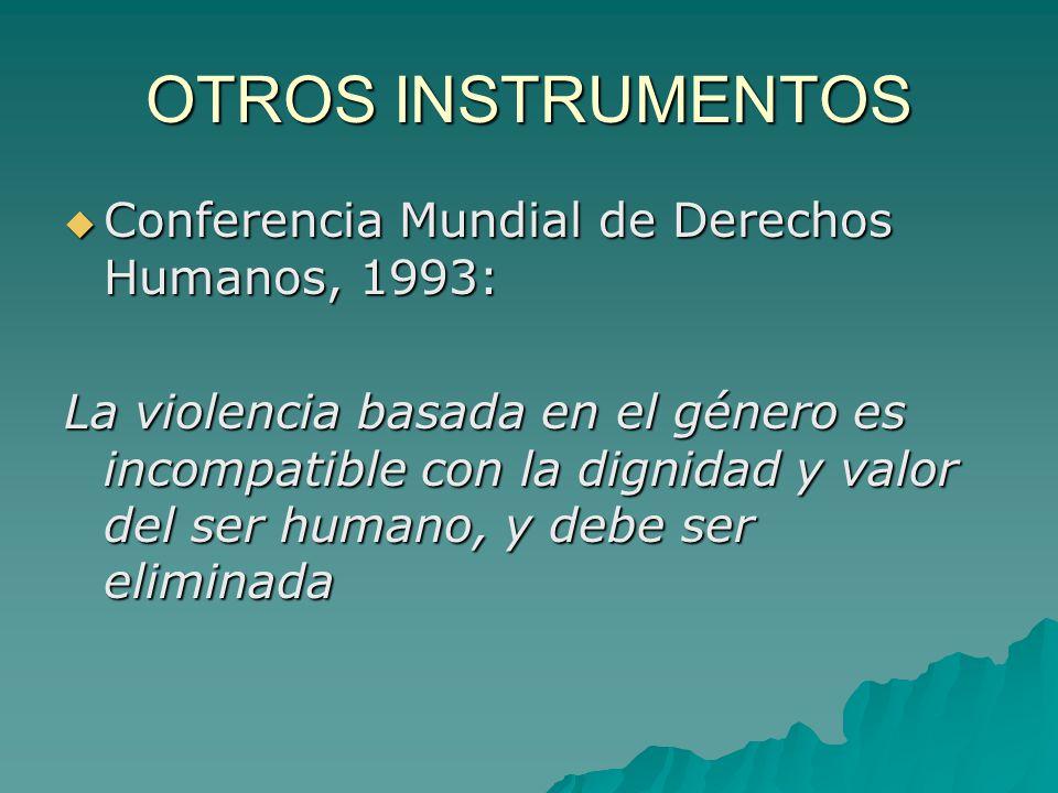 OTROS INSTRUMENTOS Conferencia Mundial de Derechos Humanos, 1993: Conferencia Mundial de Derechos Humanos, 1993: La violencia basada en el género es incompatible con la dignidad y valor del ser humano, y debe ser eliminada