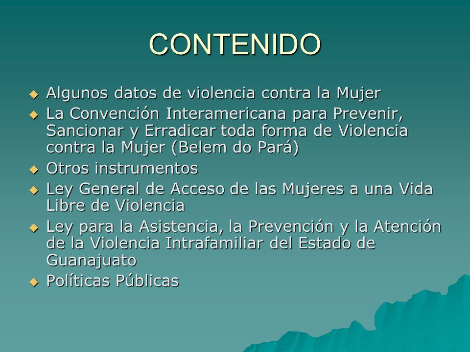 CONTENIDO Algunos datos de violencia contra la Mujer Algunos datos de violencia contra la Mujer La Convención Interamericana para Prevenir, Sancionar