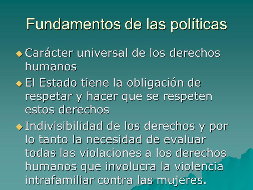 Fundamentos de las políticas Carácter universal de los derechos humanos Carácter universal de los derechos humanos El Estado tiene la obligación de re
