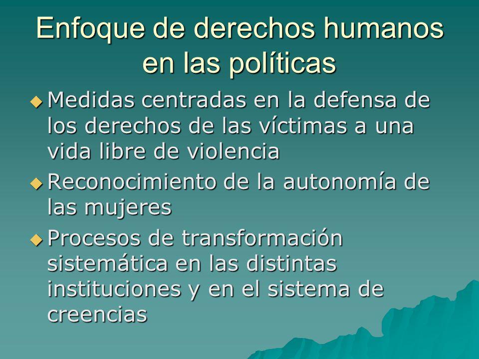 Enfoque de derechos humanos en las políticas Medidas centradas en la defensa de los derechos de las víctimas a una vida libre de violencia Medidas cen