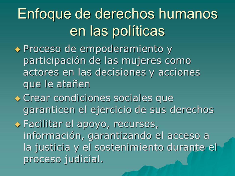 Enfoque de derechos humanos en las políticas Proceso de empoderamiento y participación de las mujeres como actores en las decisiones y acciones que le
